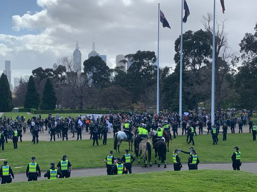The scene at the Shrine of Remembrance this morning. Picture: Zach Hope