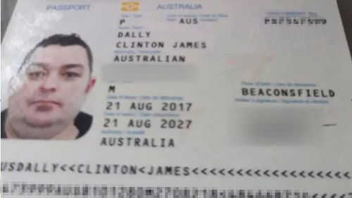Police in Kuta have supplied this picture of Mr Dally's passport found in the hotel room. (Supplied)