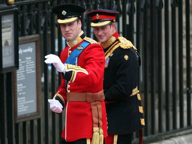 Britain's Prince William and Prince Harry arrive at Westminster Abbey in central London for the Royal Wedding 2011
