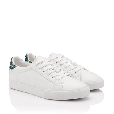 """<p><a href=""""https://www.sportsgirl.com.au/multi-glitter-tip-sneaker-white"""" target=""""_blank"""">Sportsgirl Multi&nbsp; Glitter Tip Sneaker in White, $49.95</a></p>"""