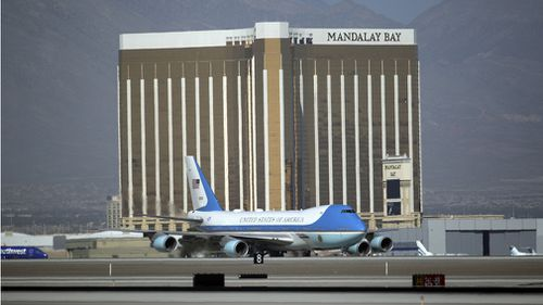 Air Force One on the tarmac in front of the Mandalay Bay hotel. (AAp)