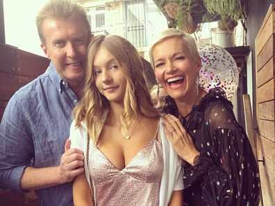 Peter Overton, Jessica Rowe and their daughter Allegra.