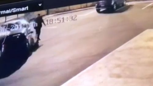 The car drives straight at the man and takes him out. Picture: 9News