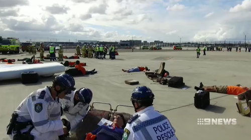 The exercise was a drill for if a plane crash did happen at Sydney Airport.