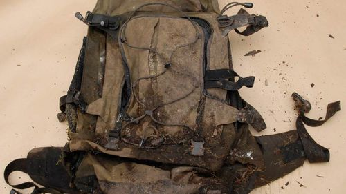 A backpack that was found alongside unidentified bones in Tasmania's Huon Valley. (AAP)