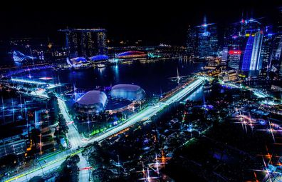 Singapore Grand Prix aerial city view at night
