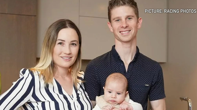Jye McNeil is pictured alongside his wife Jessica Payne and young son.