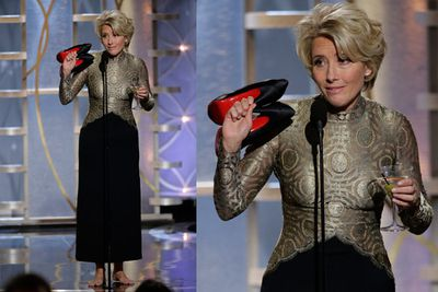 But Jen now has competitors in Quirks-ville. Emma Thompson's mock-drunk, shoeless speech at the Golden Globes won the internet in Lawrence-esque proportions, inspiring a flood of internet memes.