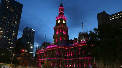 Town Hall is lit up with pink lights as the gay community and their supporters. (AAP)