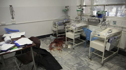 Bloodstains on the floor of a maternity hospital in Kabul.