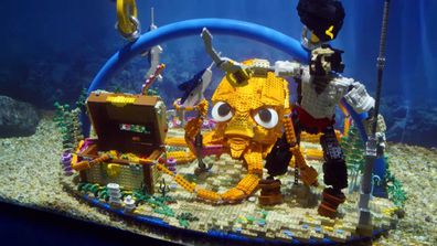 Hamish gets in the tank to rescue a piece of Tim and Dannii's underwater build