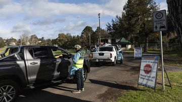 Tests are carried out at a pop-up COVID-19 testing clinic at Victoria Park in Picton.