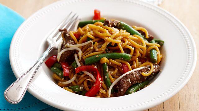 Sesame beef noodles for $10