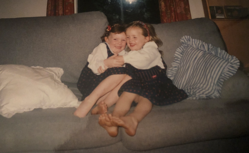Pippa, pictured with her sister Pen, as children.