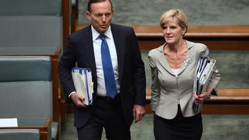 Prime Minister Tony Abbott with his deputy - and possible replacement - Julie Bishop. (AAP)