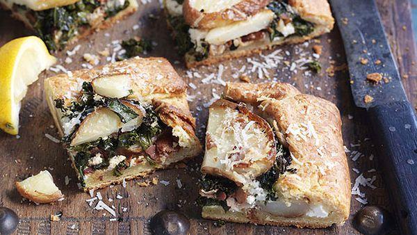 Potato, kale and pancetta party food tarts