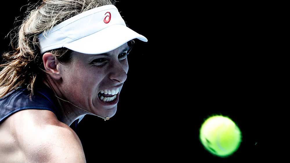 Johanna Konta downed Ekaterina Markaova to move into a showdown with Serena Williams. (AAP)