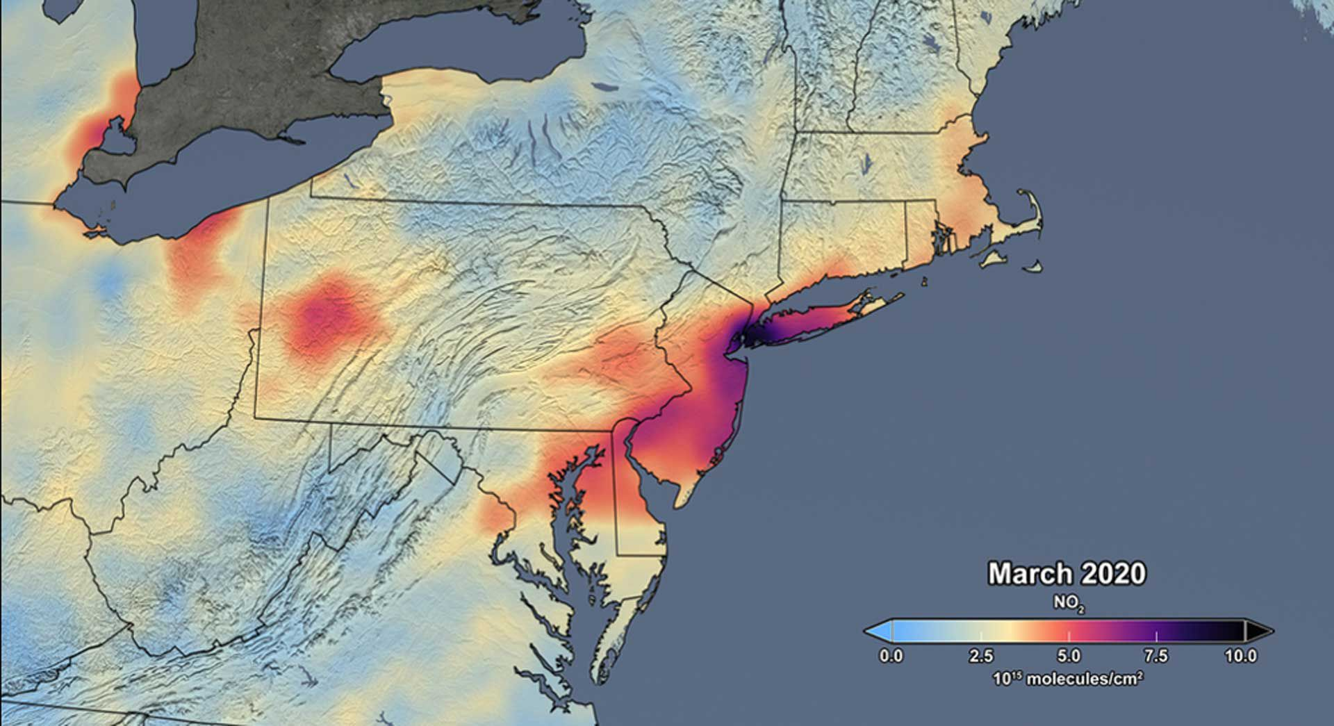 Nitrogen dioxide levels above United States.