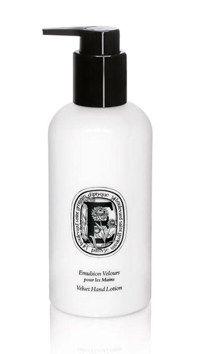 """<a href=""""http://mecca.com.au/diptyque/art-of-body-care-velvet-hand-lotion/I-008661.html#q=hand+cream&start=1"""" target=""""_blank"""">Velvet Hand Lotion, $59, Diptyque</a>"""