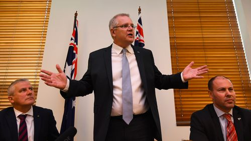 .Scott Morrison addresses the Coalition party room
