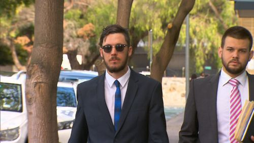 Mitchell Joseph Brindley (L) faced Fremantle Magistrates Court charged under tough new revenge porn laws.