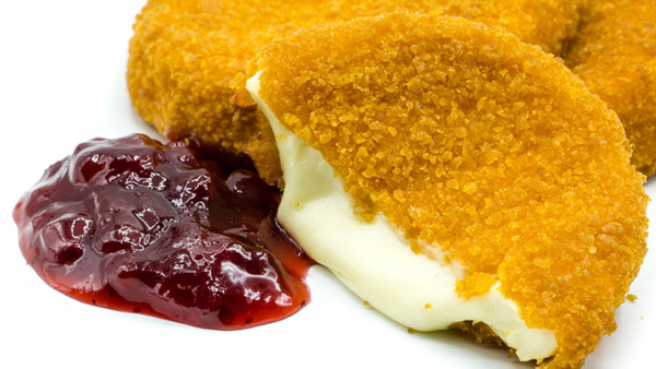 Crumbed camembert with cranberry sauce
