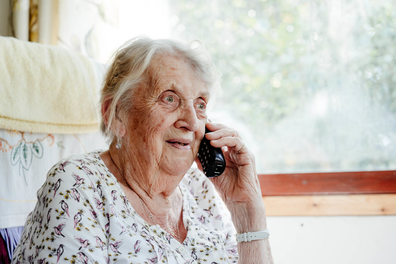 Volunteer Anne receiving a call from Princess Alexandra thanking her for her service with the Red Cross.