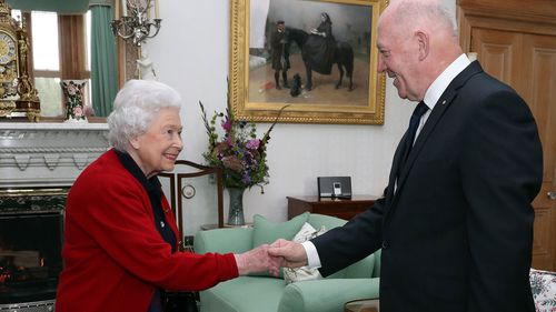 General Sir Peter Cosgrove, the Governor-General of Australia, meets Queen Elizabeth II during a private audience in the Drawing Room at Balmoral