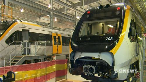 The state government is spending $2.3 billion on 65 seven-carriage trains. Picture: 9NEWS
