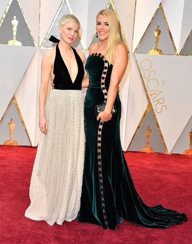 Michelle Williams and Busy Philipps arrive at the 89th Annual Academy Awards at Hollywood & Highland Center on February 26, 2017 in Hollywood, California.