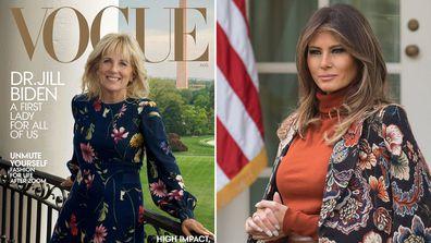 Jill Biden on Vogue magazine; Melania Trump at the White House