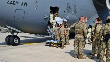 An Afghan mother delivered a baby girl just after touching down at Ramstein Air Base in Germany.