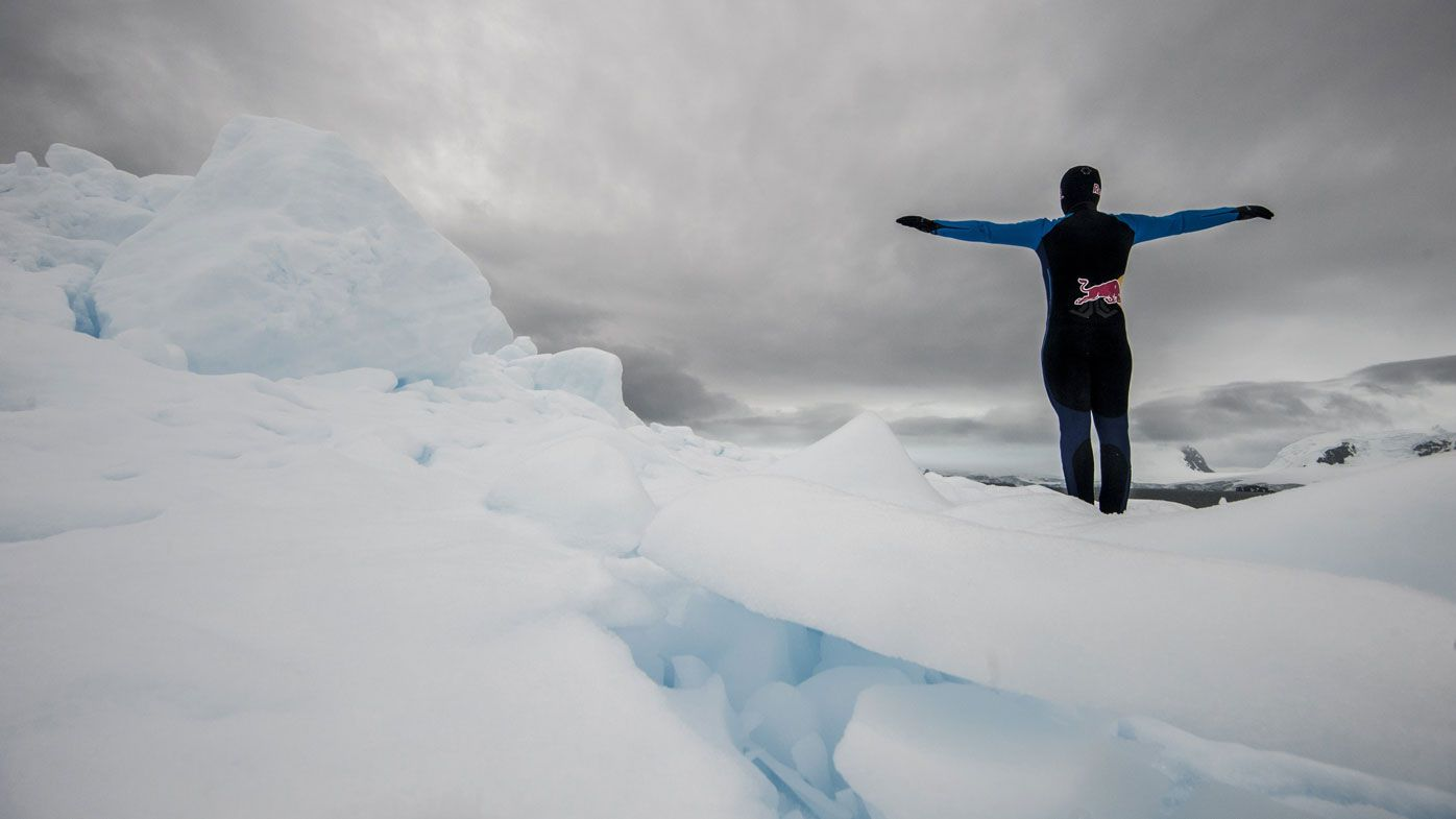 Colombian high diver Orlando Duque dives off two Antarctica icebergs