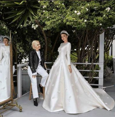 Australian supermodel Miranda Kerr in custom-made Dior,May 2017