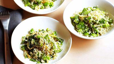 Quinoa, broad bean and preserved lemon salad