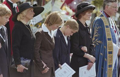 Princess Diana's mother Frances Shand Kydd, Eleanor Fellowes, Laura Fellowes, and Diana's sister Lady Sarah McCorquodale attending the Princess's funeral.