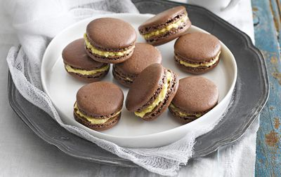 Chocolate and salted caramel macarons
