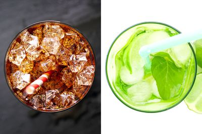Swap soft drink or alcohol for fruity mineral water