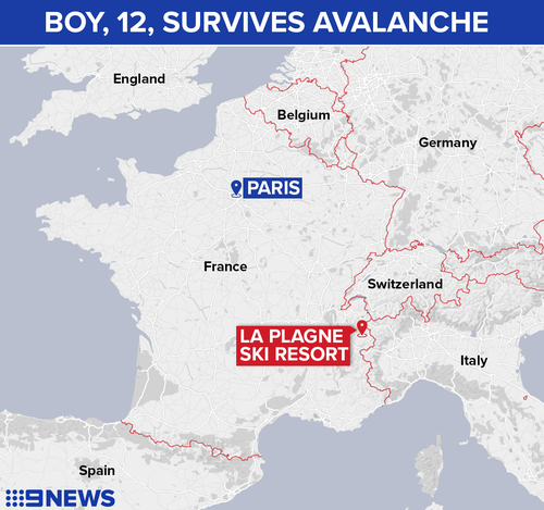 The boy was skiing with a group at La Plagne resort in the French Alps when the avalanche occurred.