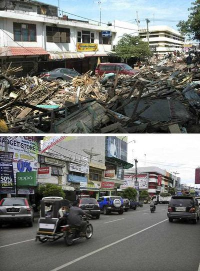 Damage at Panglima Polem Street near Peunayoung on 26 December 2004 (top), and a view of the same area on 16 December 2014 (bottom), in Banda Aceh, Indonesia.. (EPA)