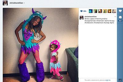 """Christina Milian and her daughter Violet are seen here showing off their Halloween costumes. Christina posted the snap on her Twitter page recently, writing: """"Strike a pose #halloween #trickortreat."""""""