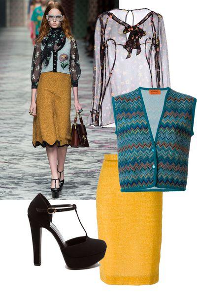 "<a href=""http://www.yoox.com/GB/38446970/item?tp=59310#cod10=38446970EM&amp;sizeId="" target=""_blank"">Blouse, $154, Moschino Cheap n Chic at Yoox.com</a>; <a href=""http://www.farfetch.com/au/shopping/women/Missoni-Vintage-zig-zag-crochet-knit-waistcoat-item-11234242.aspx"" target=""_blank"">Vest, $308, Missoni at Farfetch.com</a>; <a href=""http://www.farfetch.com/au/shopping/women/Peter-Jensen-lurex-pencil-skirt-item-11192650.aspx"" target=""_blank"">Skirt,$208, Peter Jensen at Farfetch.com</a>; <a href=""http://www.gojane.com/113118.html?SIZE=6&amp;id=113118-black"" target=""_blank"">Heels, $26, GoJane.com</a>.<br /><br />"