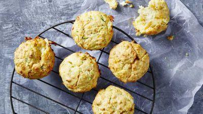 "Recipe:&nbsp;<a href=""https://kitchen.nine.com.au/2016/12/14/14/19/cheesy-garlic-bread-muffins"" target=""_top"">Cheesy garlic bread muffins</a>"
