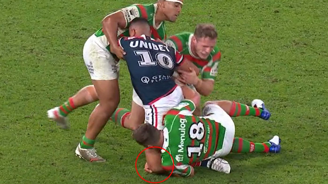 Taukeiaho goes down with a serious knee injury.