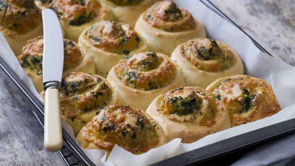 Thermomix three cheese spinach scrolls