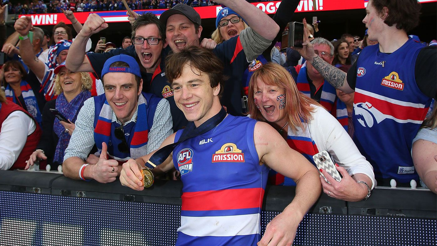 Liam Picken of the Western Bulldogs celebrates victory in the 2016 AFL Grand Final