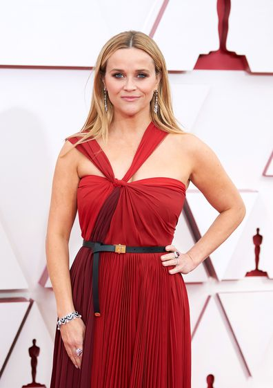 Oscar presenter Reese Witherspoon arrives on the red carpet of The 93rd Oscars® at Union Station in Los Angeles, CA on Sunday, April 25, 2021.
