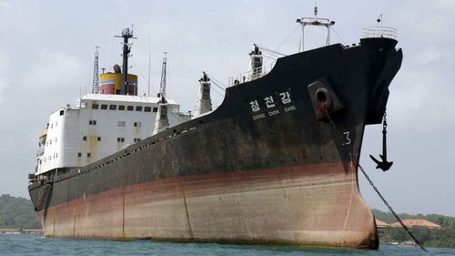 North Korean-flagged cargo ship Chong Chon Gang after it was caught in Panama carrying weapons in 2014. (AAP)