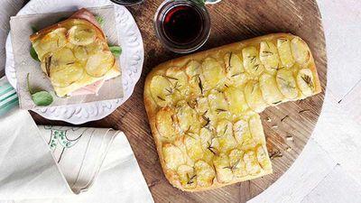 Potato and rosemary focaccia with mortadella