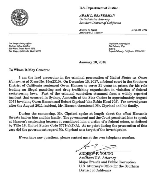 The Department of Justice letter confirming Robert J. Cipriani, aka Robin Hood 702, was never a target of the Owen Hanson FBI investigation. (Supplied)